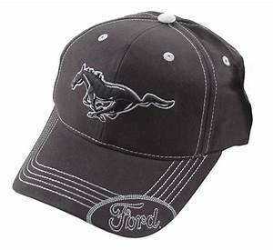 Ford Mustang Black & Silver Running Horse Pony Logo Adjustable Hat Cap - Hats - Gifts & Accessories