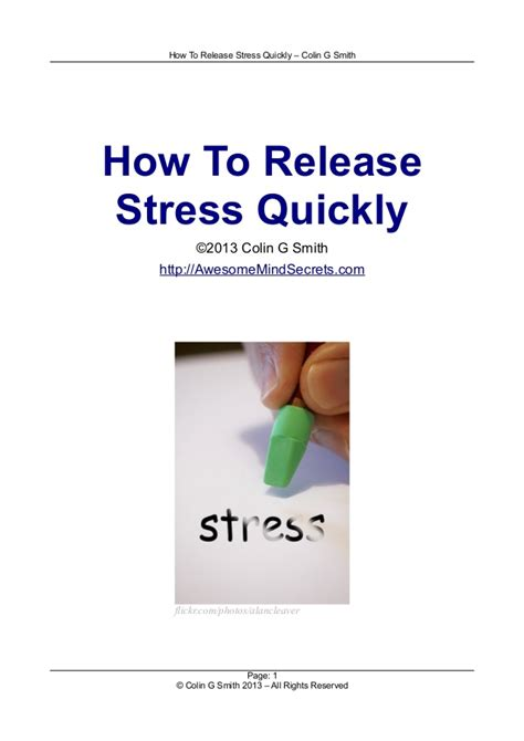 how to release stress quickly