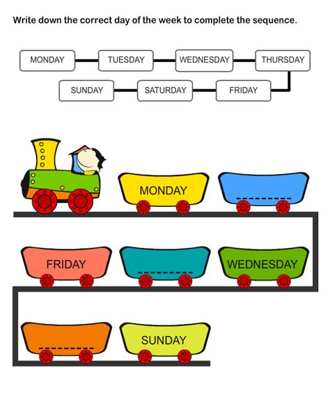 printable educational worksheets days   week