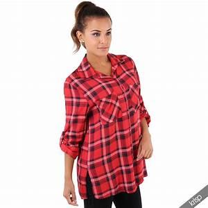 womens classic check tartan shirt ladies long buttoned With blouse carreaux femme