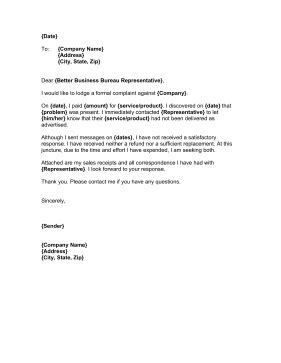 bbb complaint letter template