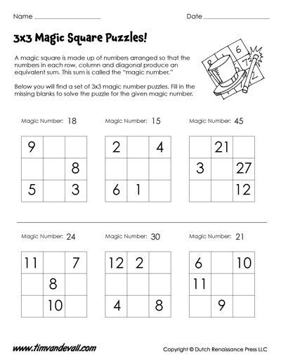 magic squares worksheets  images math logic