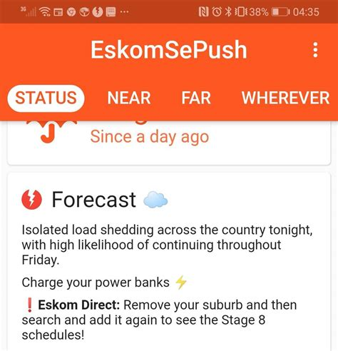 The power utility has warned south africans of possible loadshedding this evening if electricity is not used sparingly. Load shedding today - Page 23