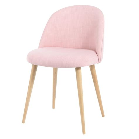 chaise fourrure pink fabric vintage chair mauricette maisons du monde