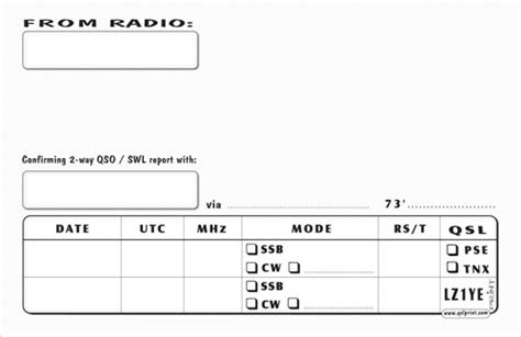 qsl card template print of all kinds of qsl cards