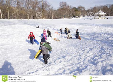 kids playing  snow editorial stock photo image