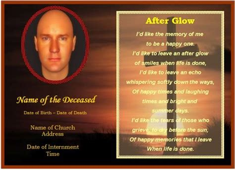memorial card template   word template