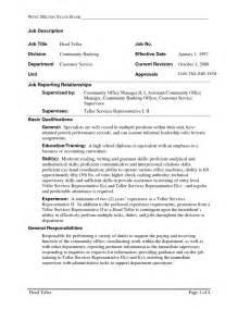 teller supervisor resume exles teller supervisor resume exles resume sles