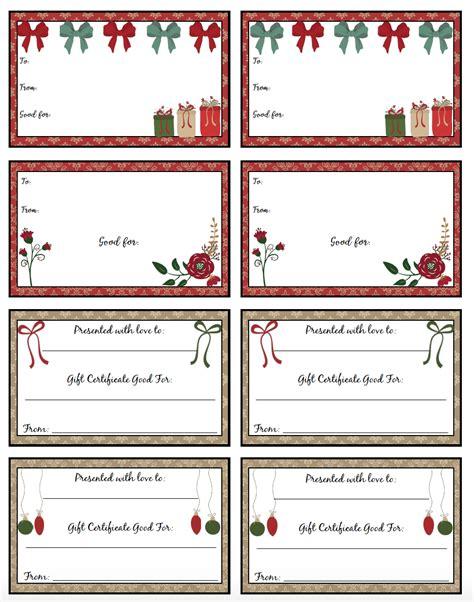 printable christmas gift certificates  designs