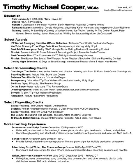 the real timothy resume