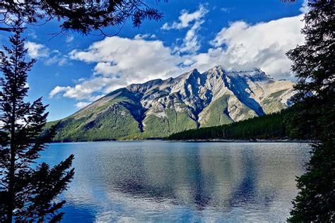 picture mountain lake landscape snow water