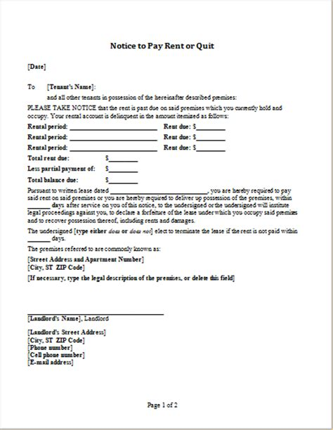 Notice To Pay Rent Or Quit Template For Word Word