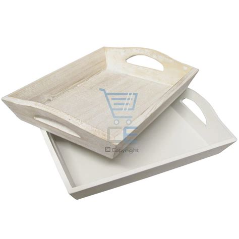 shabby chic trays set of 2 rustic wooden trays natural white breakfast lunch shabby chic home gift ebay