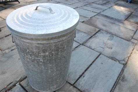 Reserved For Jared Large Galvanized Metal Trash Can With Lid