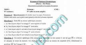 Examens Corrig U00e9s Optique G U00e9om U00e9trique S2 Fsj