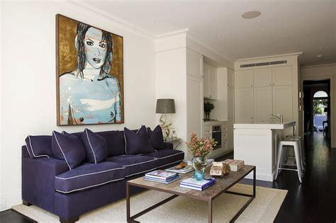 Blue Sofa White Piping by Purple Sofa Contemporary Living Room Denai Kulcsar
