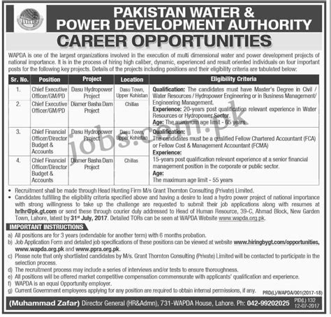 Pakistan Water & Power Development Authority Wapda Jobs 2017 Available For 4+ Positions On 12