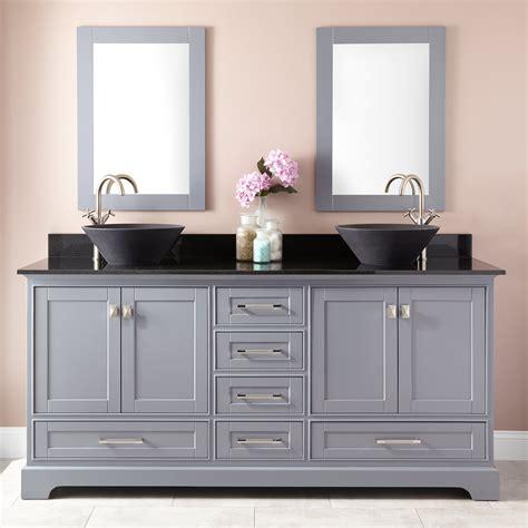 quen double vessel sink vanity gray double sink