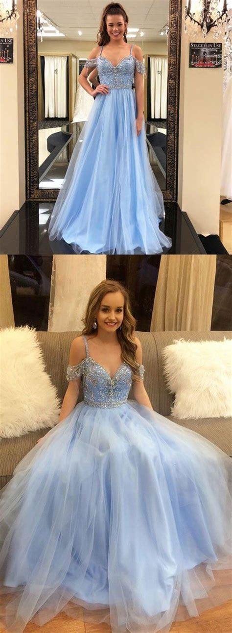 Light blue tulle long prom dress, blue evening dress ...