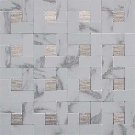 bathroom tile ideas lowes instant mosaic peel and stick metal wall tile 3 in x 6