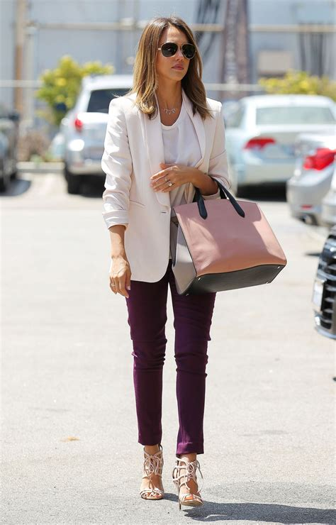 bureau style alba casual style heads to the office in santa