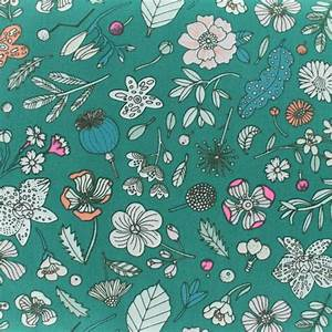 tissu coton rico design hygge fleurs fluo vert x 10cm With chambre bébé design avec tissu coton fleurs