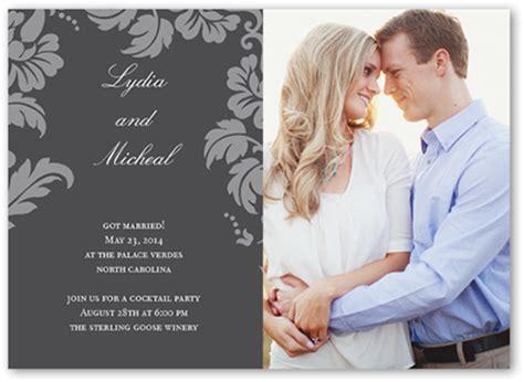 floret charcoal  photo wedding announcement cards