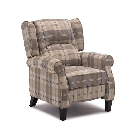 Fabric Armchair by Eaton Wing Back Fireside Check Fabric Recliner Armchair