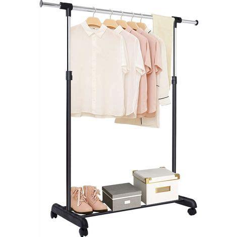 kleiderstange auf rollen costway kleiderstaender kleiderstange mit ablage garderobenstaender auf rollen waeschestaender