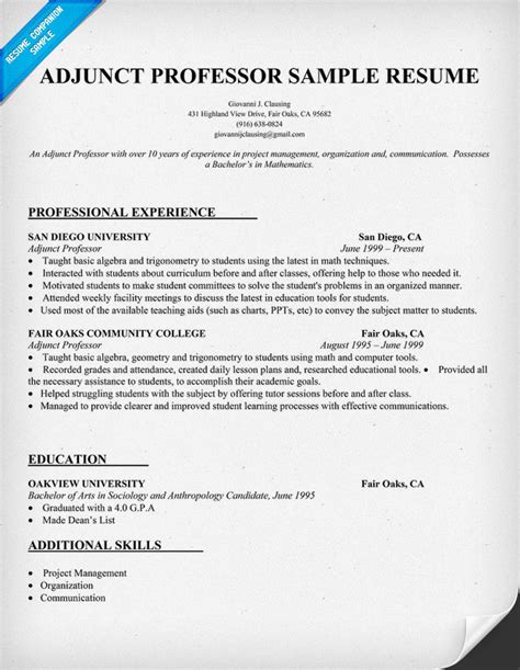 College Lecturer Resume Format by Adjunct Professor Sle Resume Resume Builder To Create A New Resume In Minutes