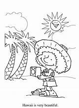Coloring Hawaiian Tourist Holiday Netart sketch template