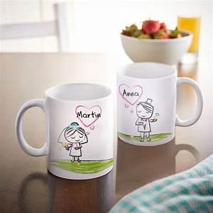 Tassen Bemalen Ideen : personalisiertes tassen set brautpaar personalisiertes hochzeitsgeschenk ~ Yasmunasinghe.com Haus und Dekorationen