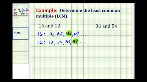 Example Determining The Least Common Multiple Using A