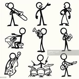 Stick Figure People Jazz Musicians Vector Art