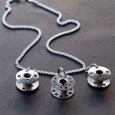 object jewelry upcycled silver bobbin necklace
