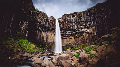 wallpaper svartifoss waterfall skaftafell national park