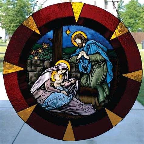 buy  hand  handpainted stained glass nativity scene