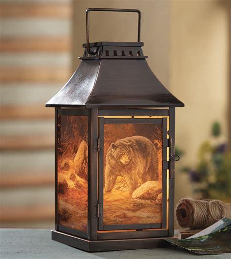 rustic candle holders bear scene candle lanternblack