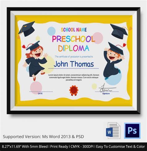 preschool diploma template 20 graduation certificates sle templates