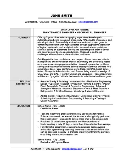 maintenance or mechanical engineer resume template