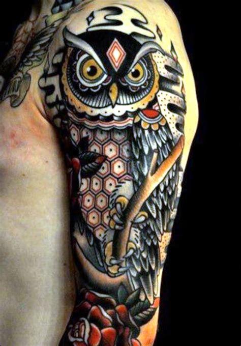 owl tattoo sleeve tattoos owl tattoo design geometric