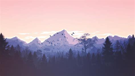 wallpaper forest mountains violet birds art hd