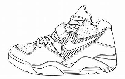 Coloring Shoe Nike Shoes Pages Template Lebron
