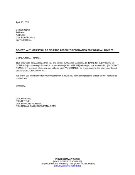 authorization  release account information template