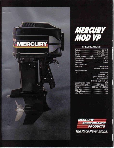 Mercury Outboard Motor Lineup by Mercury Lineup For 1988 Historical