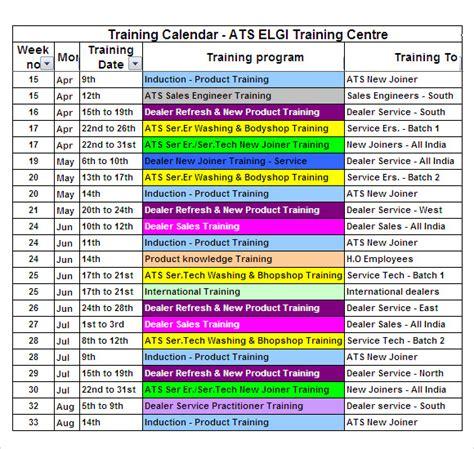 training calendar templates  samples examples