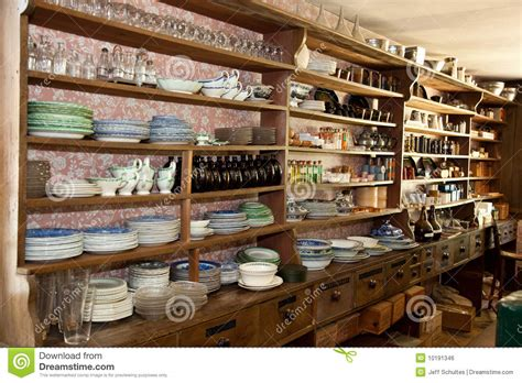 Vintage Dry Goods Store With Glassware On Display Stock