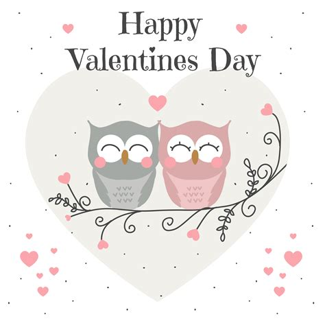 Owls Valentine Card Vector - Download Free Vectors ...