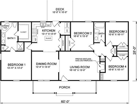 4 bedroom floor plans one 4 bedroom ranch house plans plan w26205sd traditional