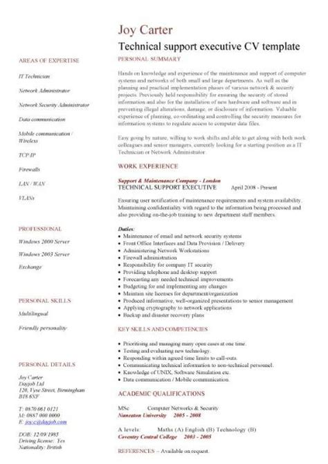 Tech Support Resume Sles by It Cv Template Cv Library Technology Description Java Cv Resume Applications Cad